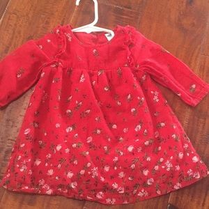 Long sleeve red dress with flowers